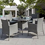 Giantex 5 Pc Patio Rattan Furniture Set Outdoor Backyard Dining Table and 4 Chairs Gray Review