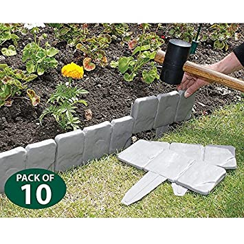 cobbled stone effect garden lawn edging amazon co uk garden outdoors