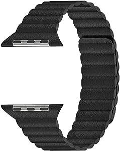 Microsonic 21284 Apple Watch Series 5 44mm Twist Leather Loop Kordon Siyah