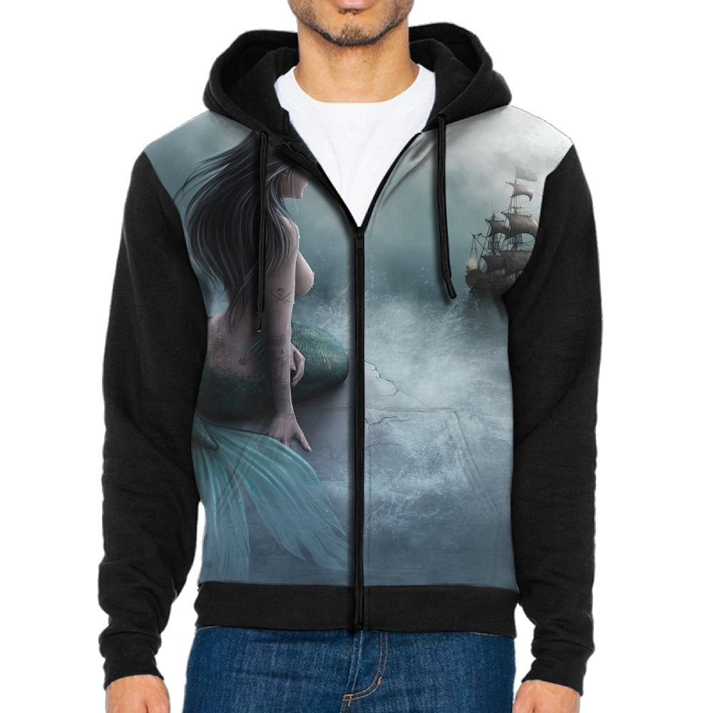 Traching Mermaid Pirate Ship Pattern Mens Casual Hoodies Personalized Hooded Sweatshirt With Pockets