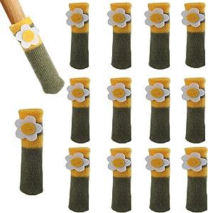 Chair Socks, 12pcs Furniture Pads High Elastic Floor Protectors Non Slip Chair Leg Feet Socks Covers Furniture Caps Set, Knitted Furniture Pads Yellow-Green -Protect Your Floor Tiles