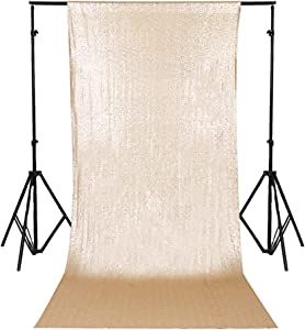 TRLYC 2FT by 8FT Christmas Matt Gold Sequin Curtain Backdrop for Father'Day Wedding Party