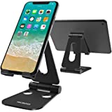 (2 in 1) Tecboss Tablet Stand, Multi-Angle Adjustable Desktop Cell Phone Stand Holder for Nintendo Switch, iPad Mini Air 2 3 4 Pro, iPhone 6 7 8 X Plus - Easy Adjust & Take Anywhere (Black)