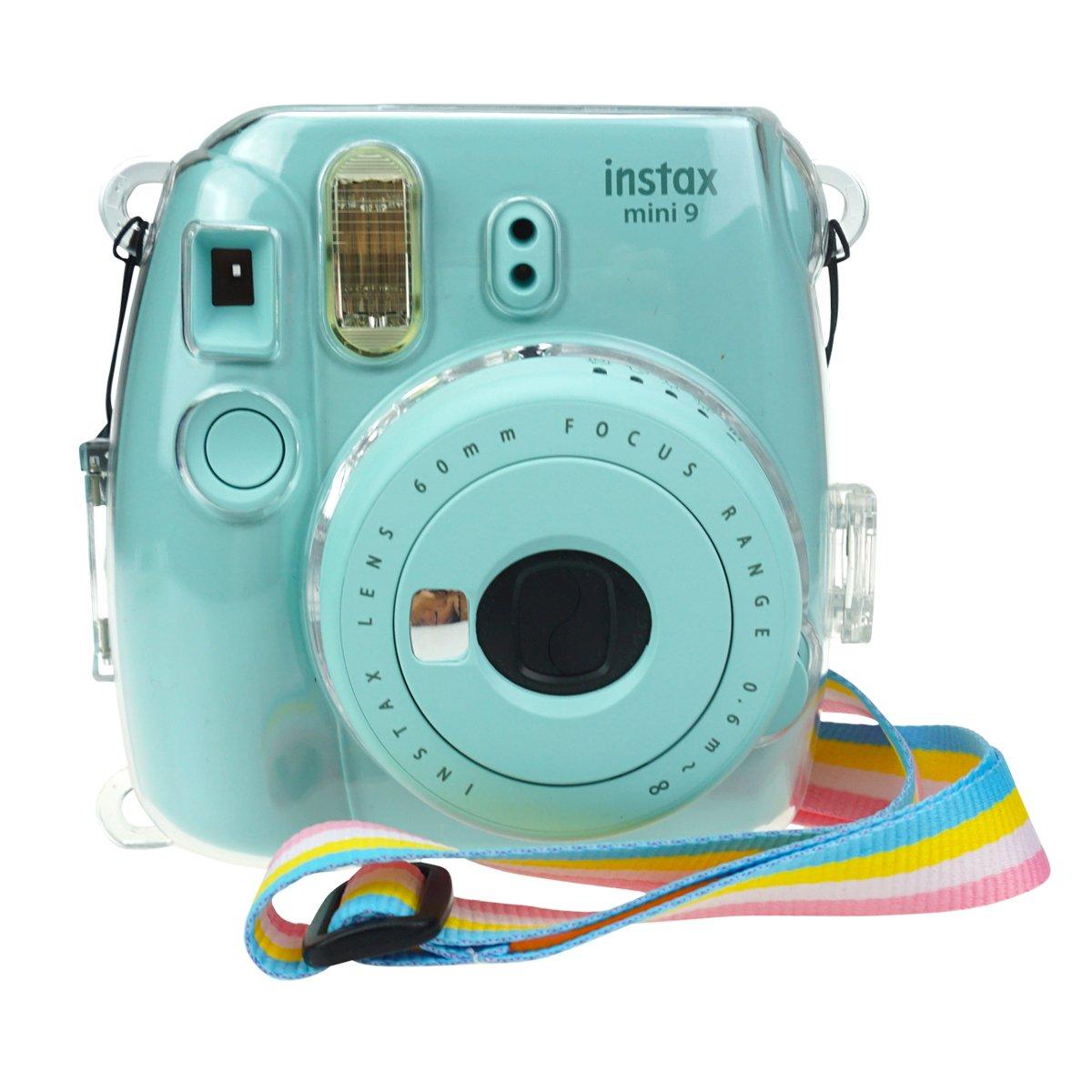 Anter Crystal Instax Mini 8 étui en PVC pour Fujifilm Instax Mini 8 Mini 8+ Mini 9 Appareil Photo instantané avec Sangle colorée Amovible - Transparent Boîtier Instax mini9 / 8/8 +