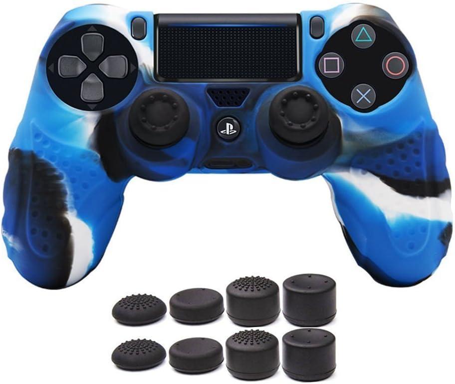 CHIN FAI PS4 Controlador de la Piel Cubierta de la Caja con 8 puños de Pulgar, Antideslizante Piel de Silicona Agarre Caso de la Cubierta del Protector para el Controlador de Sony PS4 / Slim/Pro
