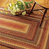 Oval Braided Rug 5′ x 8′ Homespice Biscotti Brown, Red, Blue Made From Cotton, Durable Eco Friendly Natural Fiber, Easy To Clean, Reversible, Handmade Review