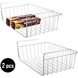 2 pcs Under Cabinet Storage Shelf Wire Basket Organizer Fit Dual Hooks for Kitchen Pantry Desk Bookshelf Cupboard Closet Organizer- Premium Anti Rust Stainless Steel Rack - Silver