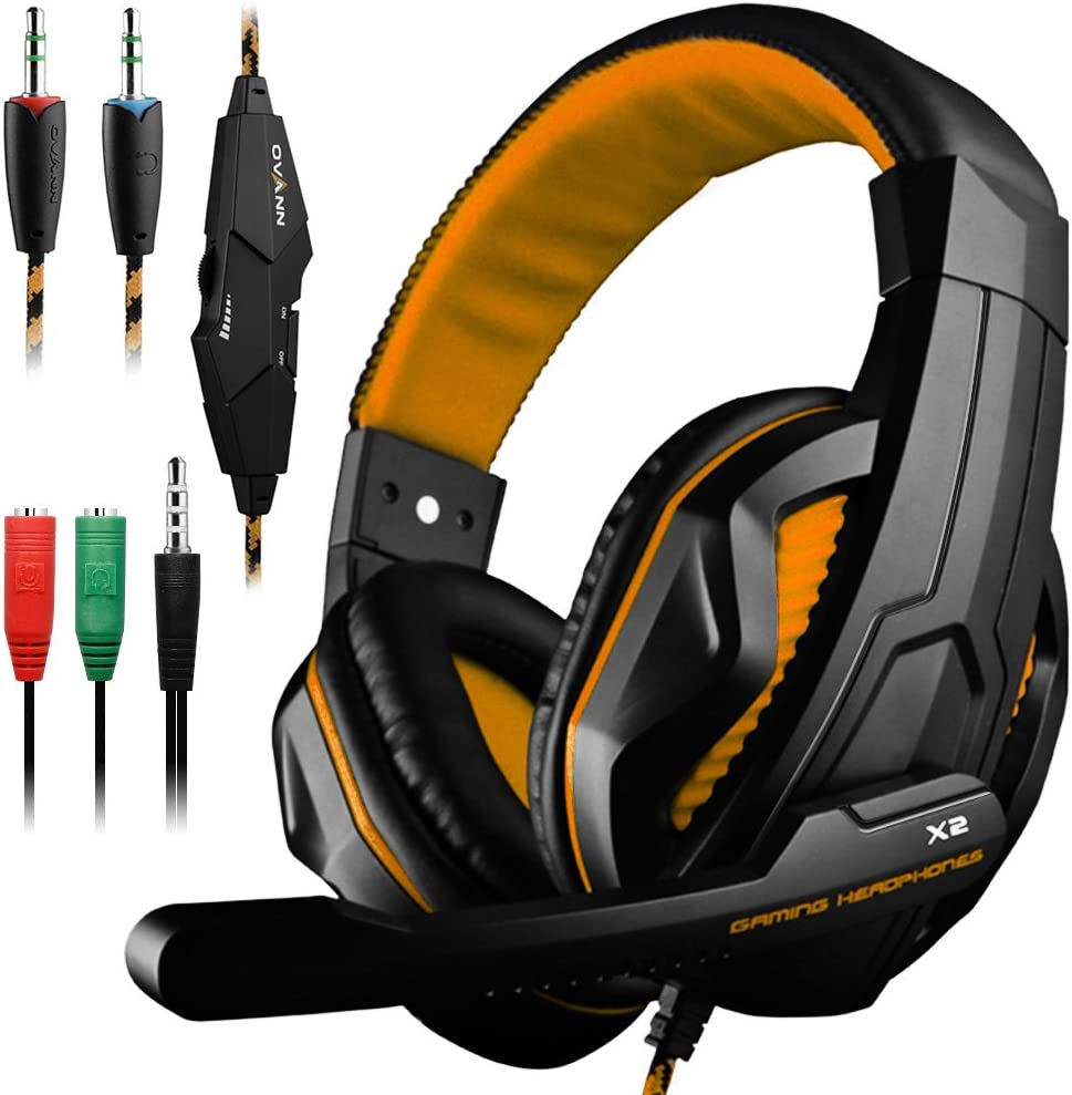 Gaming Headset,DLAND 3.5mm Wired Bass Stereo Noise Isolation Gaming Headphones with Mic for Laptop Computer, Cellphone, PS4 and so on- Volume Control (Black and Orange)