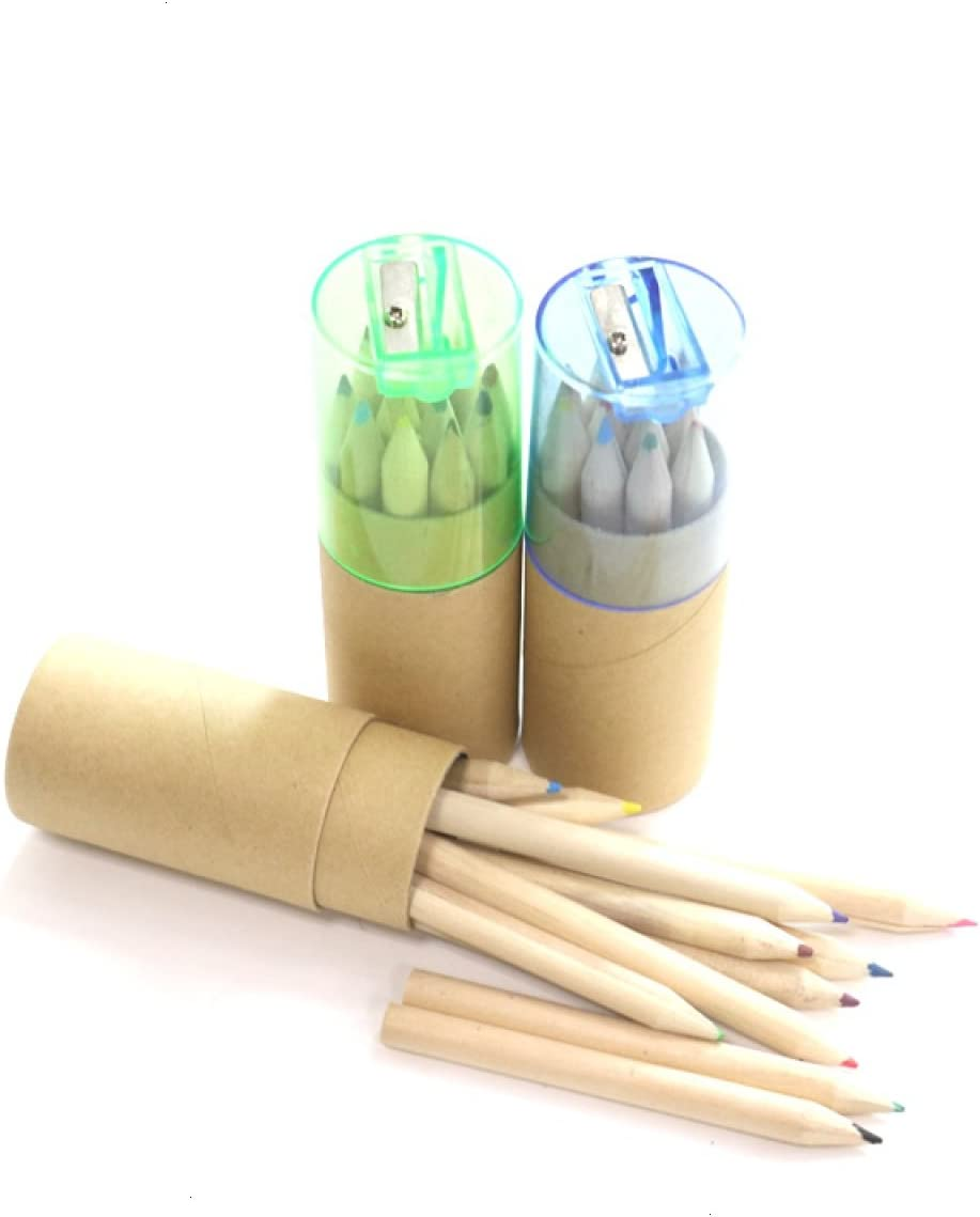 12 Pcs Mini Cute Child Gift Wooden Painting Writing Pencils With Sharpener