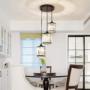 Moderno colgante ligero escalera comedor dormitorio pasillo lámpara colgante araña de cristal Línea de lámpara colgante ajustable MAX L 85CM iluminación de techo de panel negro Ø30CM E27 × 3: Amazon.es: Iluminación