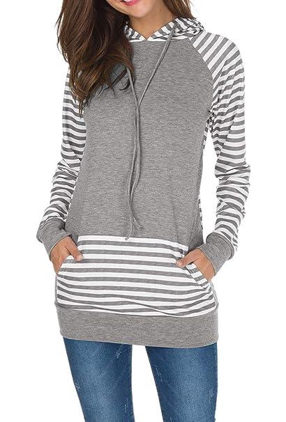 Yeesea Mujer Casual Manga Larga Camisetas Sudaderas con Capucha Raya Sweatshirt Pullover Hoodies Top con Bolsillo Gris Large: Amazon.es: Ropa y accesorios