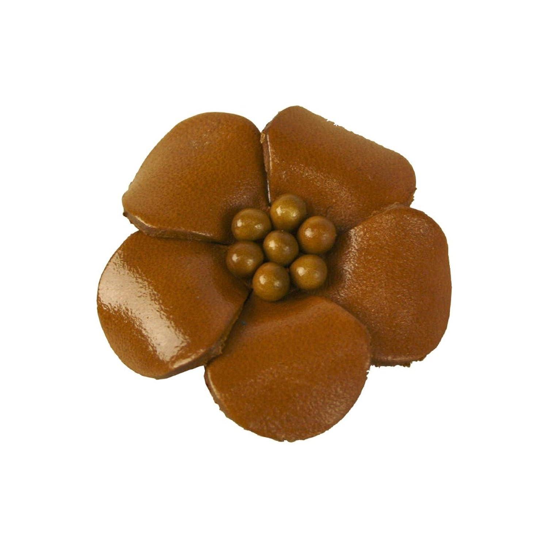 Veilchen mit Perlen Anstecker aus Leder braun - Durchmesser: ca 4 cm