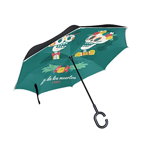 17bcb4ec8d2e Amazon.com : Jojogood Couple of Mexican Katrinas Inverted Umbrella ...