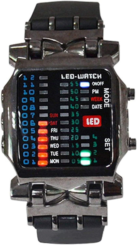 Reloj de pulsera - SODIAL(R)Unisex binario LED reloj Digital muestra de fecha Reloj de pulsera de tendencia de deporte de colores Color del arma