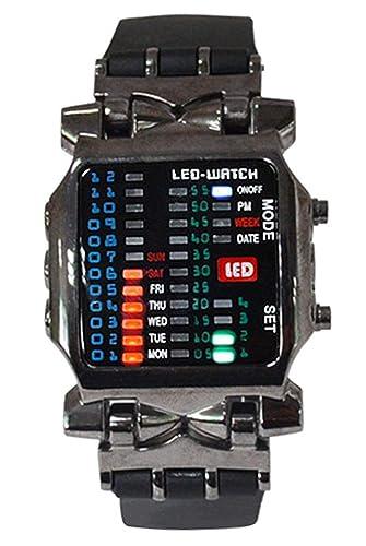 Reloj de pulsera - SODIAL(R)Unisex binario LED reloj Digital muestra de fecha Reloj de pulsera de tendencia de deporte de colores Color del arma: Amazon.es: ...