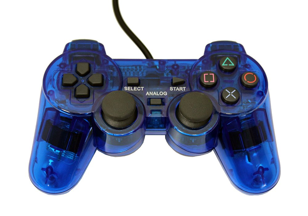Amazon Com Playstation 2 Wired Replacement Controller Transparent Blue By Mars Devices Video Games