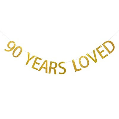 FECEDY Gold Glittery 90 Years Loved Banner for 90th Birthday Party Anniversary Decorations: Toys & Games