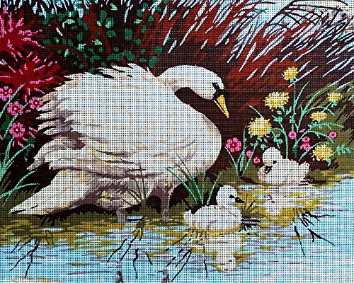 Needlepoint Painted Canvas Tapestry Gobelin - Swans and Cygnets. 20