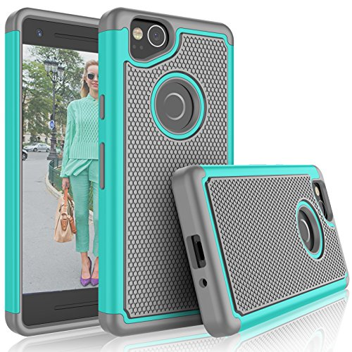 Google Pixel 2 Case, 2017 Google Pixel 2 Cute Case, Tekcoo [Tmajor] Shock Absorbing [Turquoise] Hybrid Combo Rubber Silicone & Plastic Scratch Resistant Bumper Rugged Sturdy Grip Hard Cases Cover (Tiffany Spiegel)