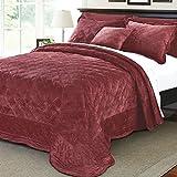 Serenta Super Soft Microplush Quilted 4 Piece Bedspread Set, Queen, Burgundy
