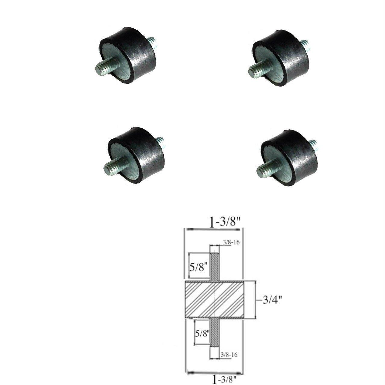 Lot of (4) Rubber Vibration Isolator Mounts (1-3/8'' Dia x 3/4 Thk) 3/8-16 x 5/8 Long Studs