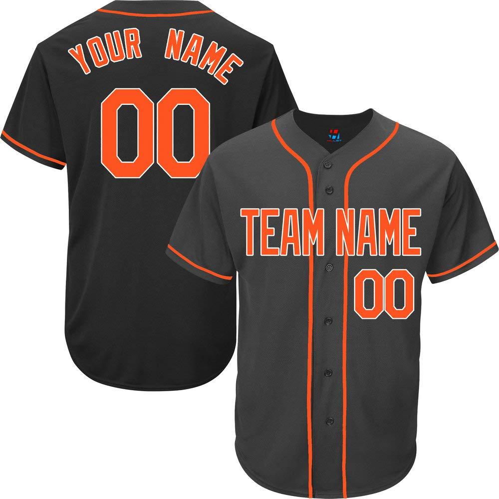 Black Customized Baseball Jersey for Men Full Button Mesh Embroidered Name & Numbers,Orange-White Size M by Pullonsy