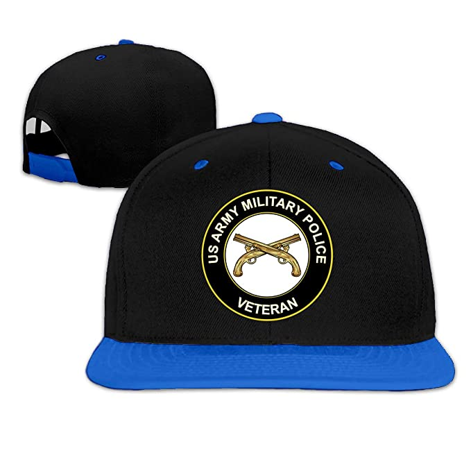 872febb22d76e1 Amazon.com: MAOHOP US Army Veteran Military Police Unisex Hip Hop Hat  Trucker Flat Hats Adjustable Snapback Hats Blue: Clothing