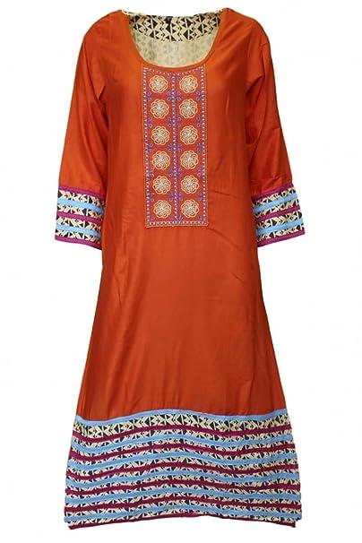 Krishna Sarees KUR3016 Top azul y naranja de Kurti, túnica hindú Indian Bollywood Kurti Top