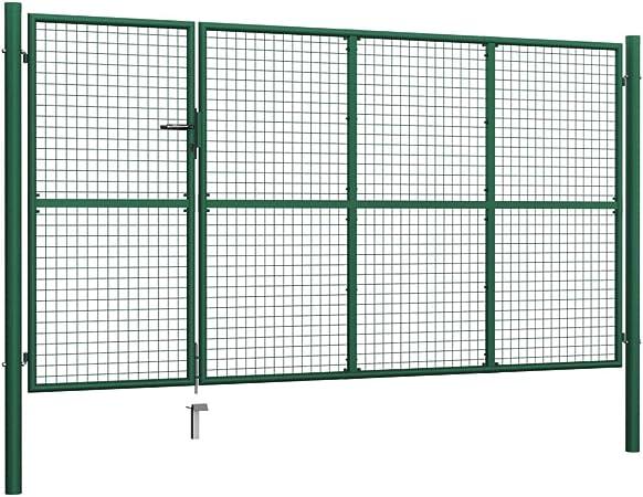 Festnight Puerta de Jardín de Acero Verde 350x175 cm, Altura del Panel 175 Cm, Puerta Jardin Valla: Amazon.es: Hogar