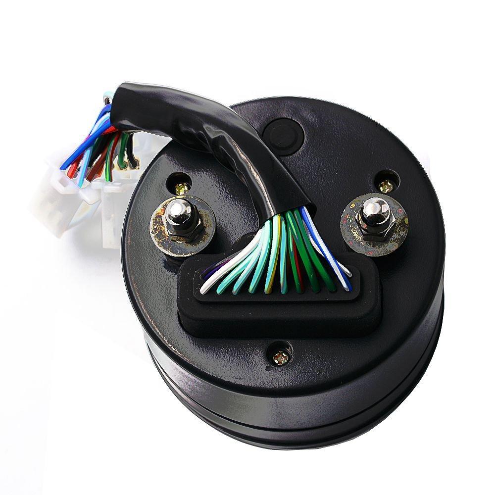 TOOGOO LED Retroilluminazione moto digitale 3 cilindri contagiri tachimetro contachilometri calibro per moto Be Visibled di notte