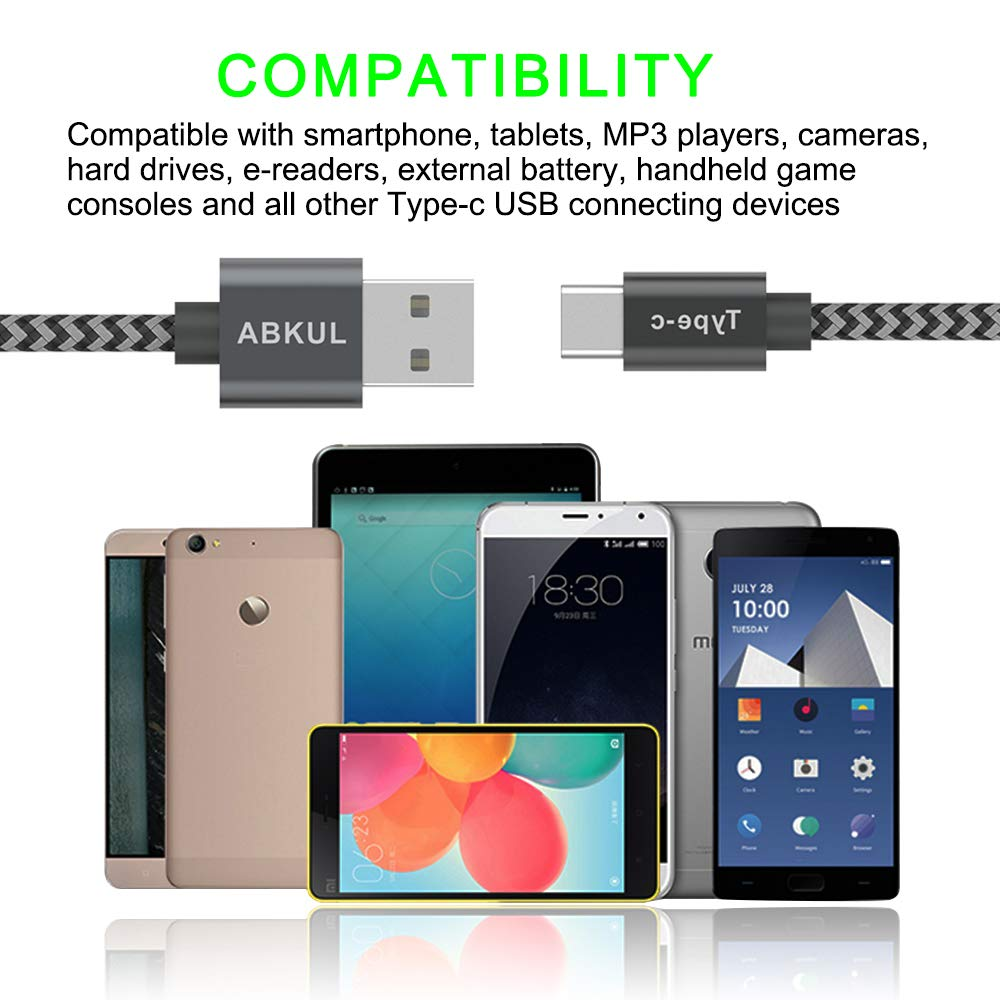USB Type C Cable, ABKUL USB C to USB A Charger (6.6ft, 2 Pack), Nylon Braided Fast Charging Cord for Samsung Galaxy S9 S8 Plus Note 9 8, Moto Z, LG V30 G5 G6, Google Pixel 2 XL, Nintendo Switch (Grey)
