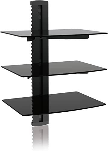 Ematic 3 Tempered Glass Shelf Wall Mount Kit for Entertainment System Components