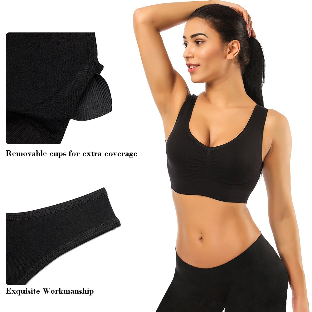 SIMIYA Sports Bras for Women, 3 Pack Seamless Comfortable Yoga Bra Plus Size with Removable Pads,Large by SIMIYA (Image #6)