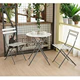 CO-Z 3-Piece Steel Outdoor Patio Set, Folding Dining Set, Bistro-Style Outdoor Furniture for Backyard Deck & Balcony