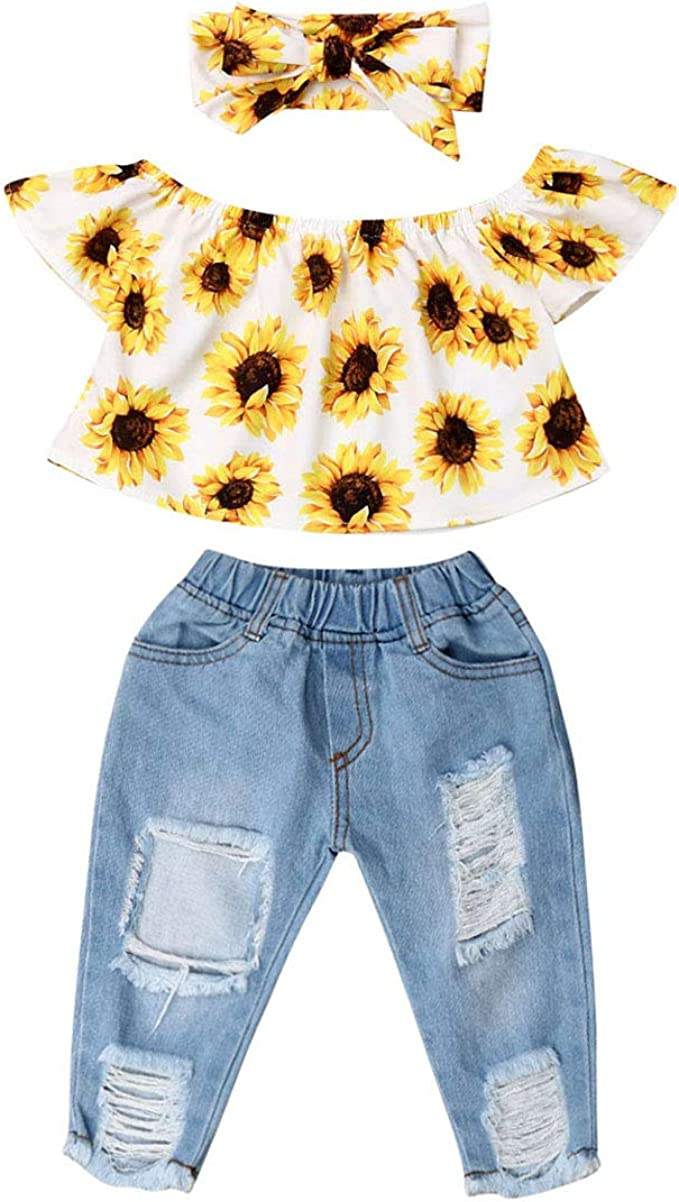 3Pcs Toddler Girl Sunflower Off Sloulder Top Ruffle Blouse Yellow Bowknot Headband Sets Blue Ripped Long Jeans