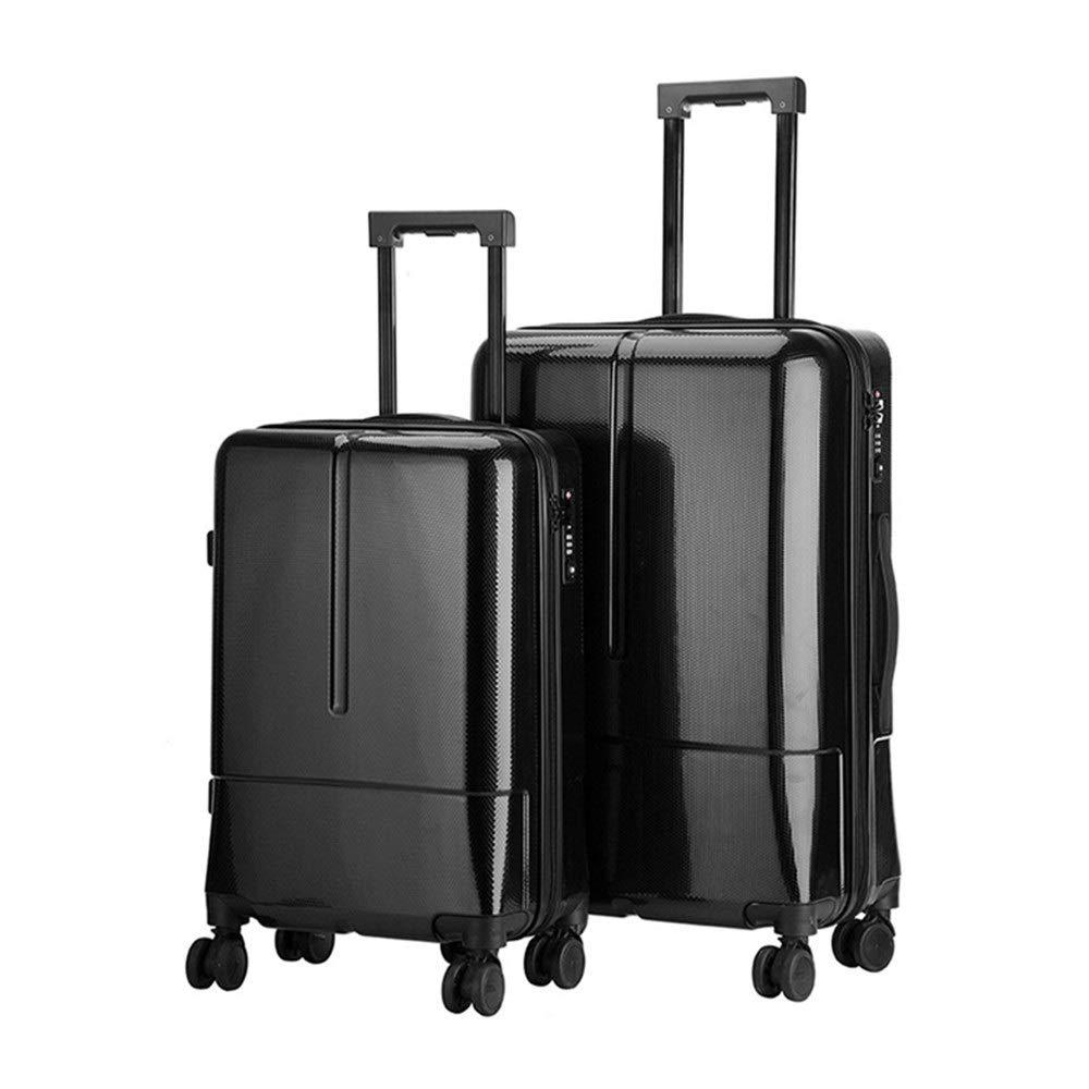 スーツケース ネスト回転子セット防水ストラップTSAロックポータブルハードシェルライトポータブルベルトコラムサイレントローテーター多方向ホイール男性と女性旅行航空機搭乗 週末にスーツケースを運ぶ (色 : ブラック, サイズ : 20in+24in) B07SX76GRX
