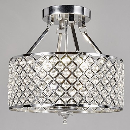 New Galaxy 4-light Chrome Finish Round Metal Shade Crystal Chandelier Semi-Flush Mount Ceiling Fixture