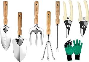 Garden Tools Set, 8 Pieces Heavy Duty Gardening Tools with Wooden Handle,Including Garden Shovel,Gloves,Trowel,Hand Weeder,Cultivator,Gardening Hand Tools Outdoor Garden Tools Gifts For Women Men