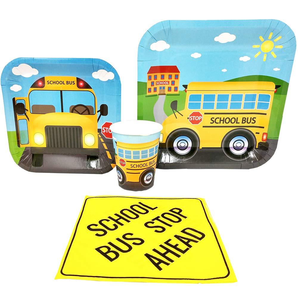 School Bus Standard Party Packs (65+ Pieces for 16 Guests!), School Bus Party Supplies, Kindergarten, Birthdays