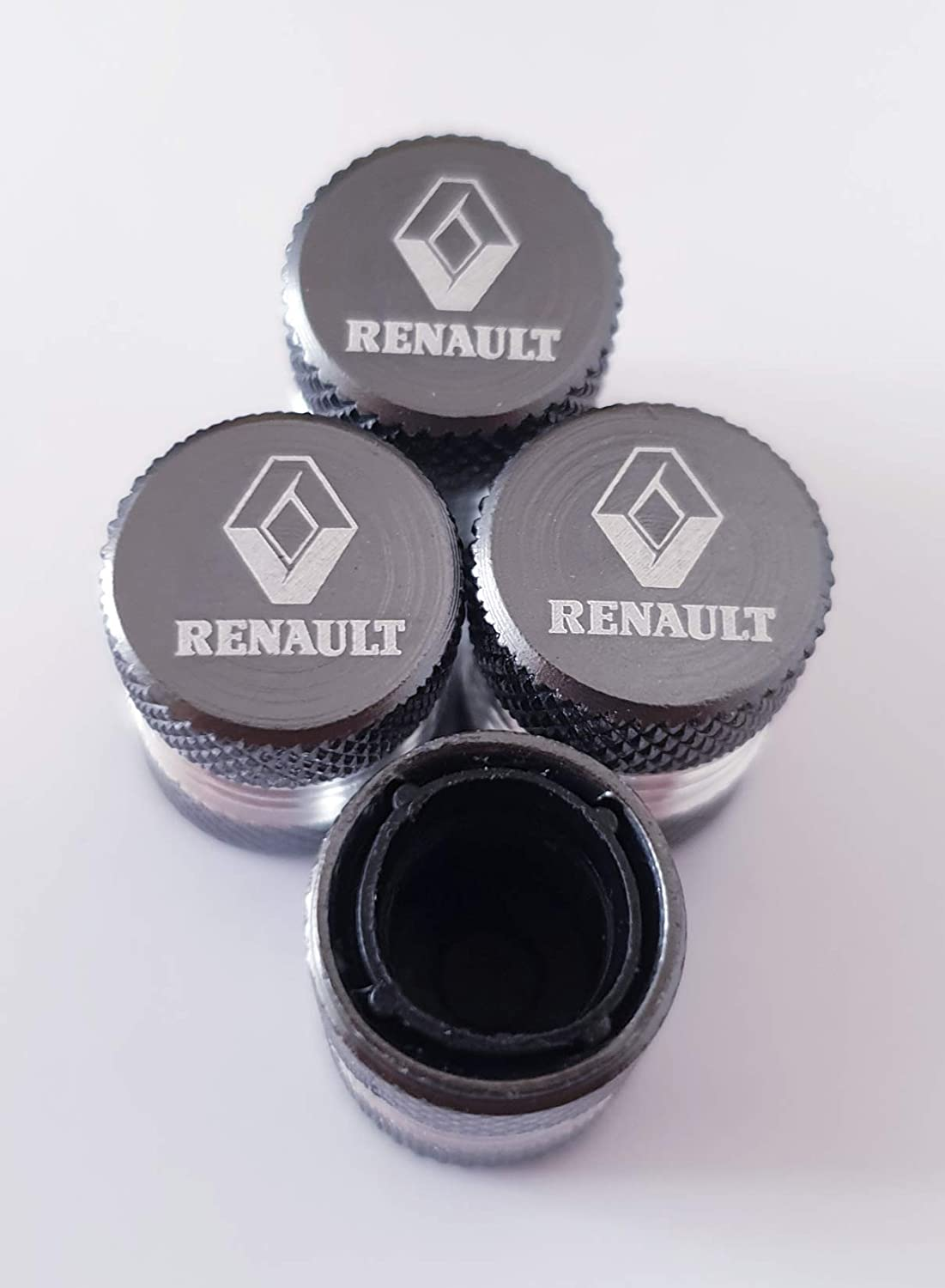 Speed Demons RENAULT Grey Laser Engraved Valve Dust Caps for all models Cars with Plastic Insides Non Stick to Valves