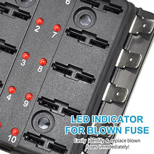 Liteway 10 Way Blade Fuse Holder Box 12-32V LED Illuminated Automotive Fuse Block for Car Boat Marine Trike with LED Warning Light Kit, 2 Years Warranty by LITE-WAY (Image #1)
