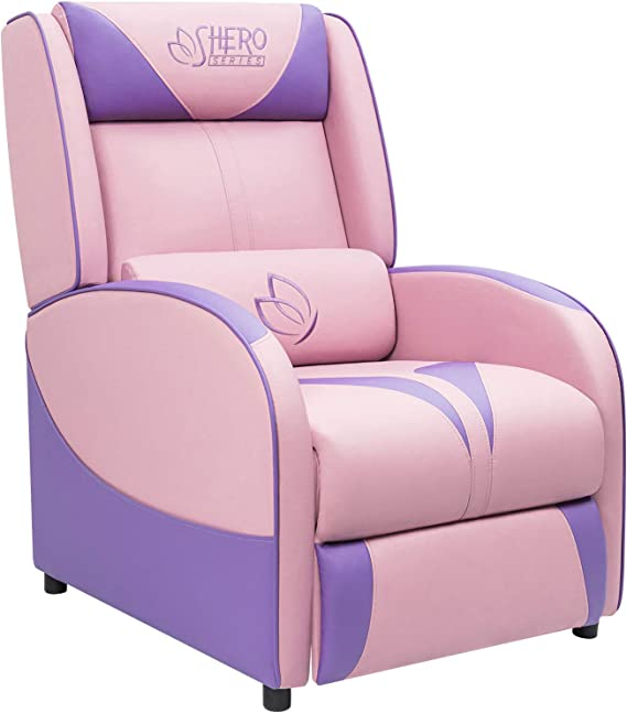 Homall Single Living Room Sofa Girl Purple Leather Home Theater Seating Pink Gaming Recliner