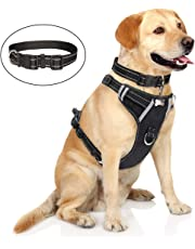 WINSEE Dog Harness No-Pull, Pet Harness with Dog Collar, Adjustable Reflective Oxford Material Outdoor Vest, Front/Back Leash Clips for Medium, Large, Extra Large Dogs, Easy Control Handle for Walking
