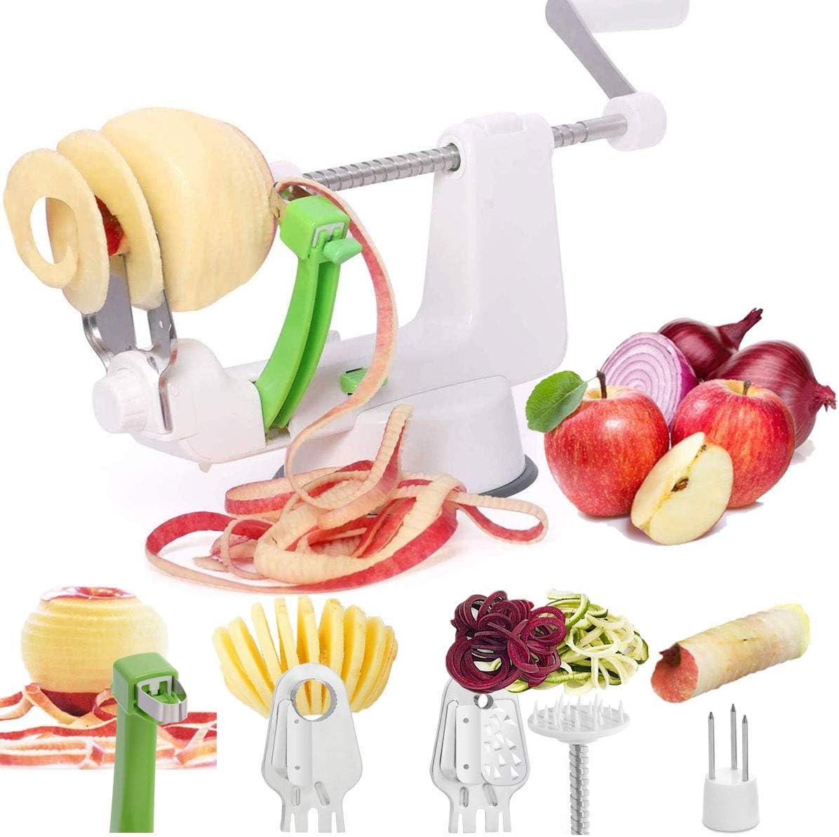 LHS Apple Peeler & Vegetable Spiralizer, Vegetable Spiral Slicer, 4 in1 Multifunctional Peel, Core and Slice Apple, Other Fruits or Vegetables & Make Spiral Veggie Pasta, Spaghetti
