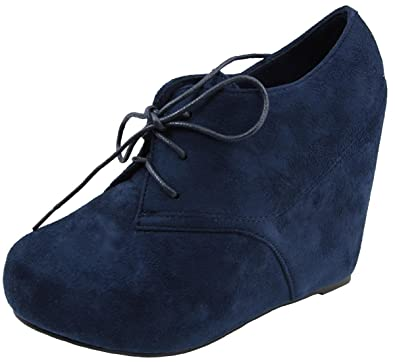Women's Dressy High Wedge Heels Lace Up Oxfords Shoes Low Top Short Boots
