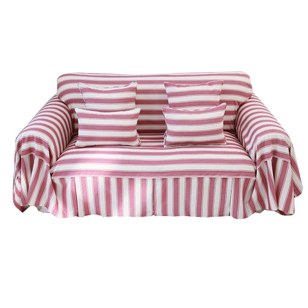 Red Color Stripe Sofa Cover Thicken Cloth Gab Soft Easy Storage Full Cover Modern Simple Light And Elegant (Size : 200cm180cm)