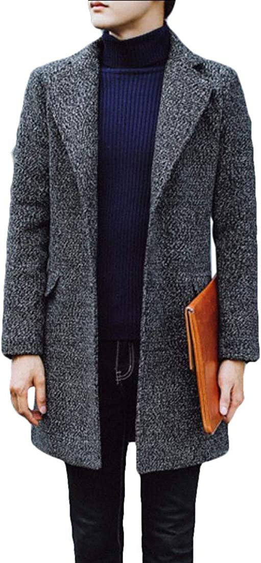M/&S/&W Mens Trench Coat Wool Blend Fleece Lining Top Coat Business Jacket