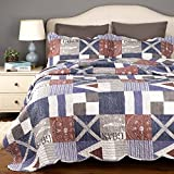 """Printed Quilt Coverlet Set Twin Size (68""""x86"""") 2-Piece Bed Cover Blue Nautical Patchwork Bedspread Lightweight Hypoallergenic Microfiber Design by Bedsure"""