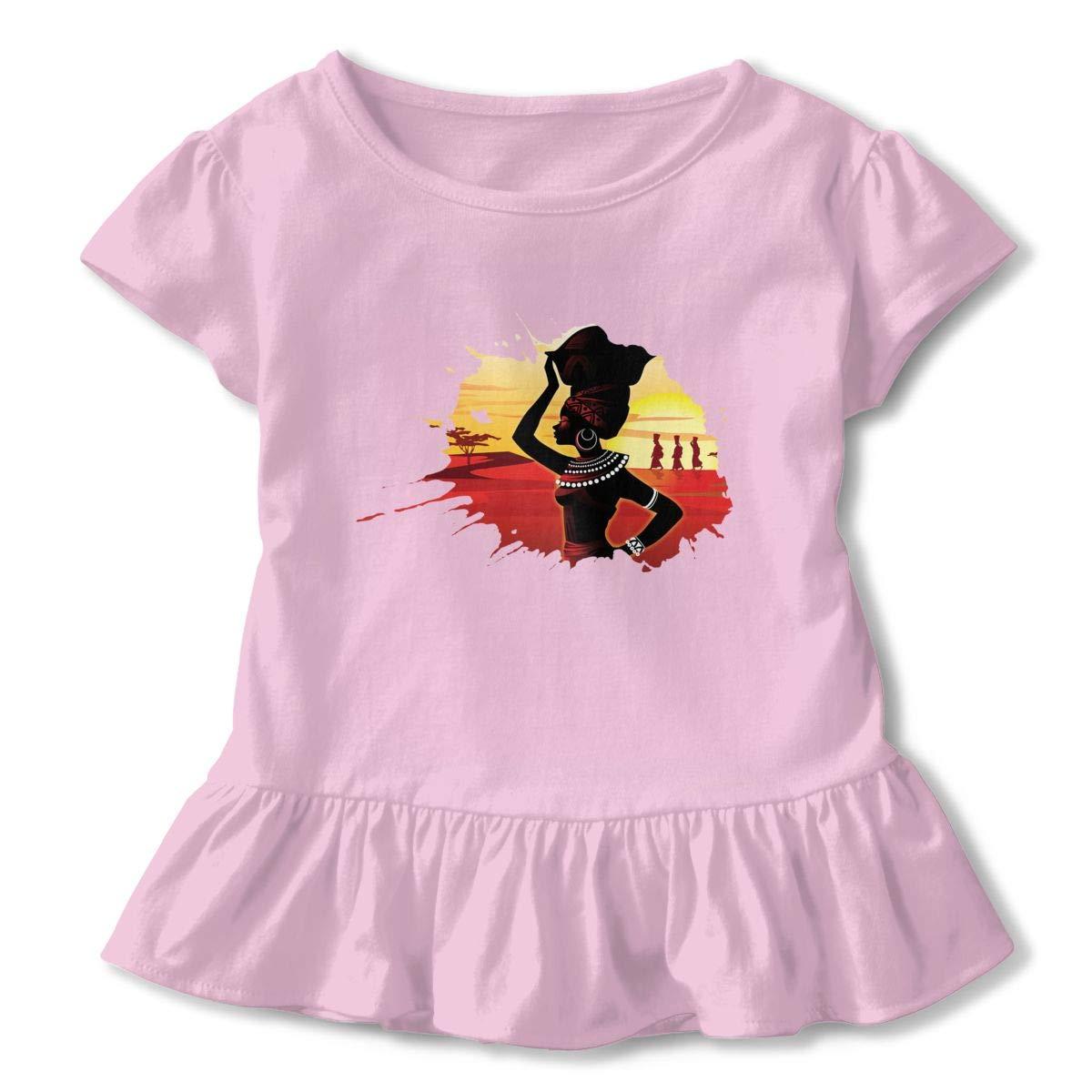 Clarissa Bertha African Woman Toddler Baby Girls Short Sleeve Ruffle T-Shirt