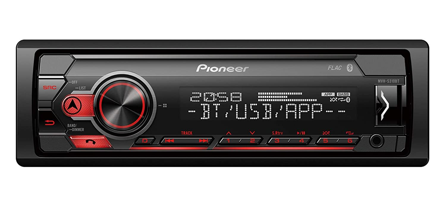 Pioneer MVH-S310BT Mechless MP3 Car Stereo with Bluetooth USB Aux-in Android and iPhone Compatible